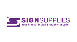 sign supplies white logo