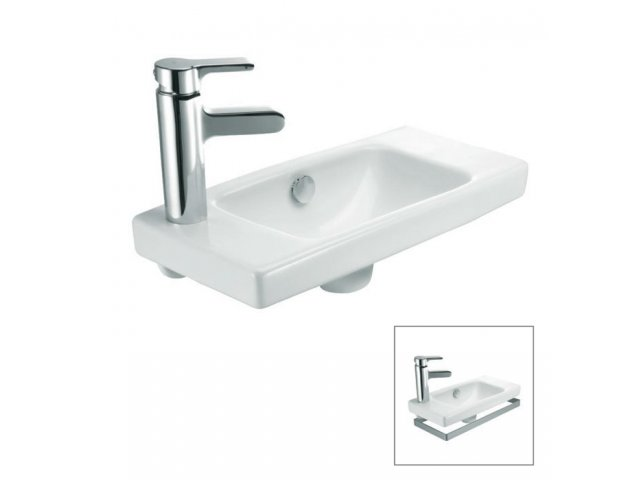Reach Handwash Basin with Optional Towel Bar - Left Hand Tap Hole