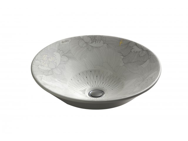 Conical Bell Vessel Basin with Empress Bouquet Design