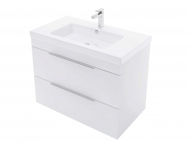 Adesso Urban Wall Hung Vanity 800mm Slim 2 Drawer Centre Basin