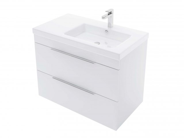 Adesso Urban Wall Hung Vanity 800mm Slim 2 Drawer Offset Right Basin