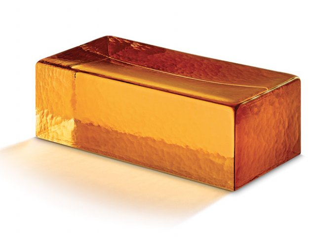 Golden Amber Venetian Glass Brick