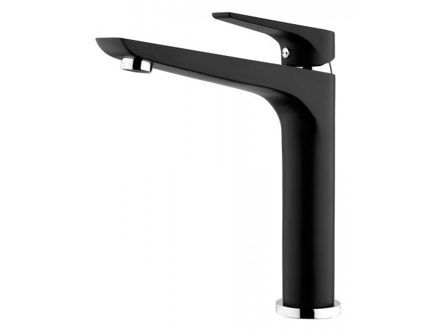 Solitaire Sink Mixer Black & Chrome