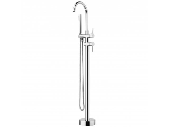 Voda Floor Mount Bath Filler, Mixer & Handshower Chrome