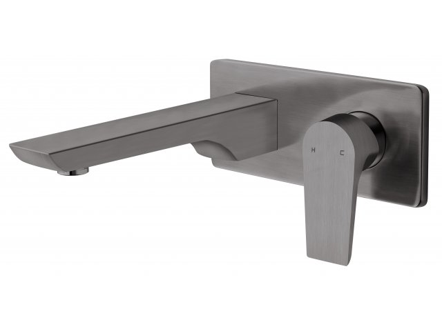 Olympia Wall Mounted Basin Mixer Brushed Gunmetal