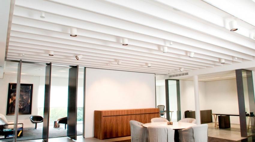 Linear Acoustic Ceiling Baffles Beams In Vantage House