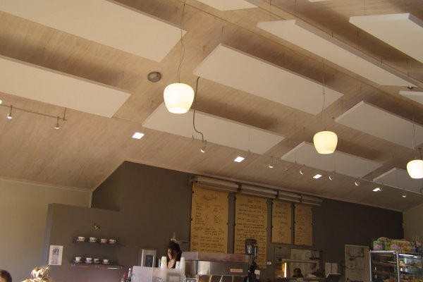 Reduce Noise and Add Style in Ceiling Design with Acoustic Plus, Sound Absorbing Cloud Panels.