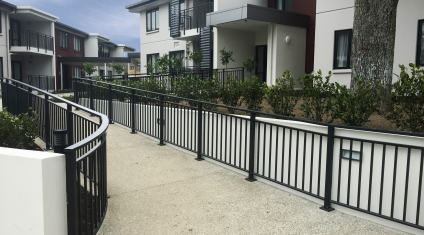 Curved balustrade leads into Retirement Village
