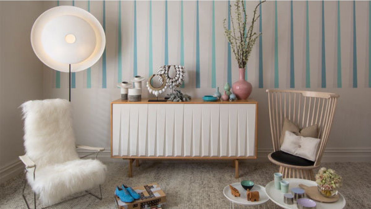 Create calm, soothing spaces with the Rise palette. (Image styled by Mim Design featuring Dulux Hopelands and Dulux Torere Half with details in Dulux Kaikorai Valley, Dulux Warrington and Dulux Cooks Beach.)