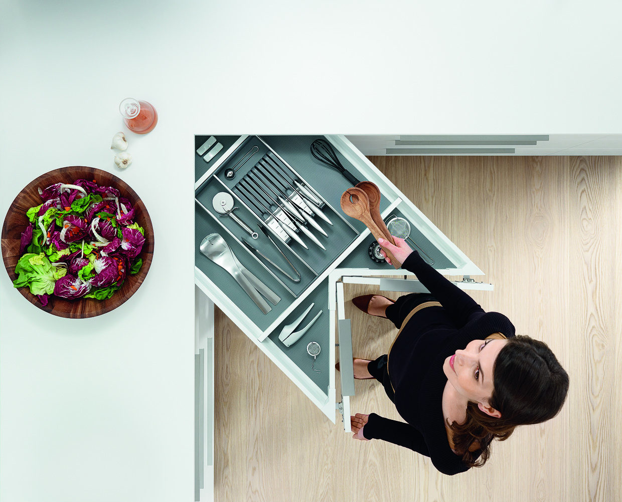 Blum S Space Corner Drawers Provide Unparalleled Access Into Those Hard To Reach Cabinets