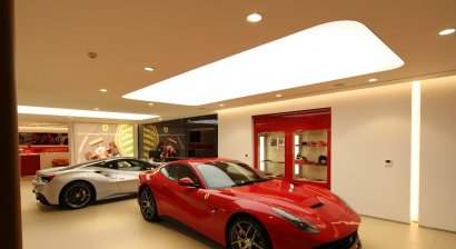 Barrisol Lightboxes Illuminate Cars in New Ferrari Showroom