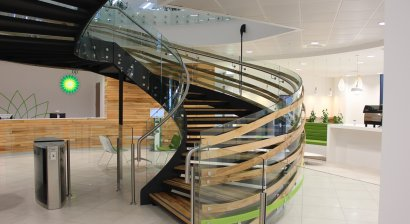 Glasshape Delivers Curved Glass for Striking Spiral Staircase