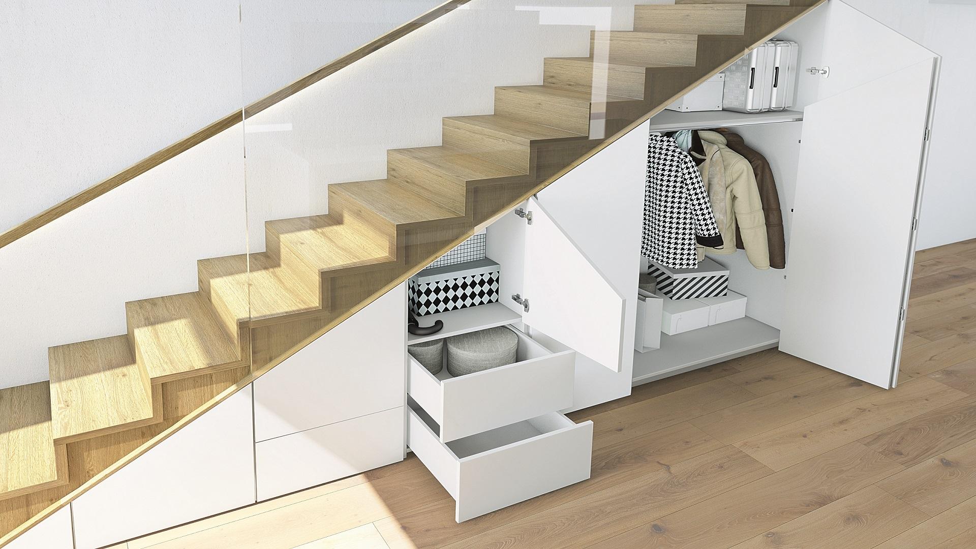 wingline l creates subtle under stair storage