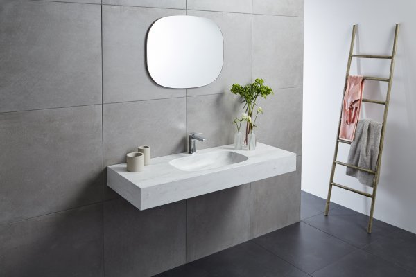 Beautifully Integrated Seamless Corian Solid Surface Basins