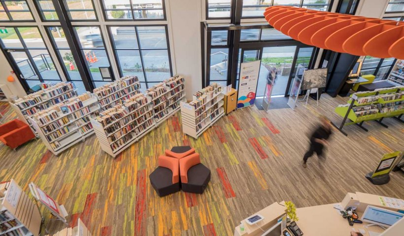 Carpet Tiles Paint a Picture in Modern Library