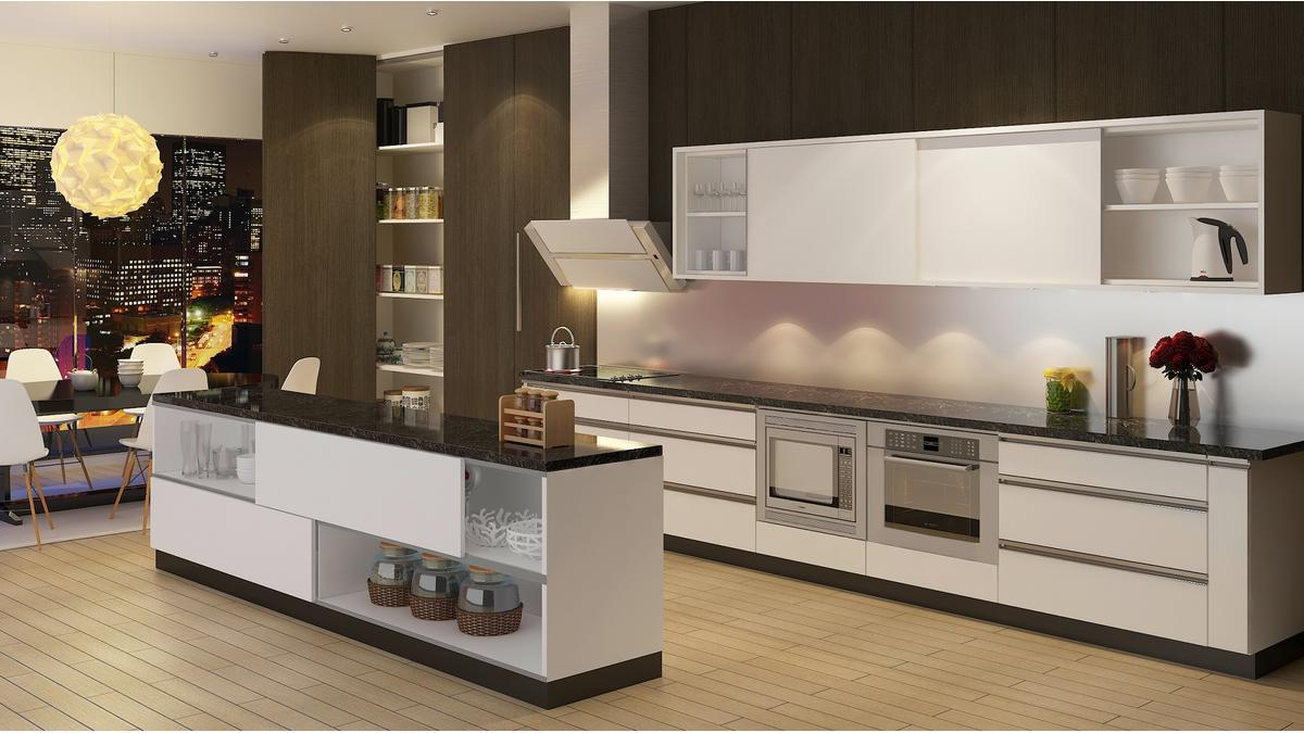 SlideLine M overlay island and overhead cabinets with WingLine L pantry solution.