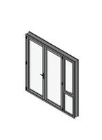 French Door with Sidelight Mullion Open Out